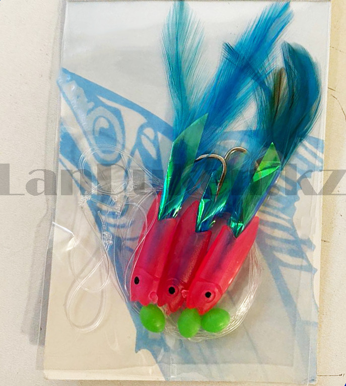 Блесна для рыбной ловли Fishing Tackle розового цвета с 3-мя крючками - фото 3