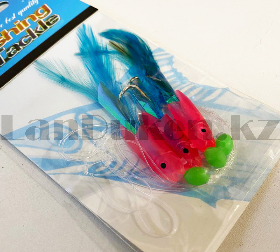 Блесна для рыбной ловли Fishing Tackle розового цвета с 3-мя крючками - фото 4
