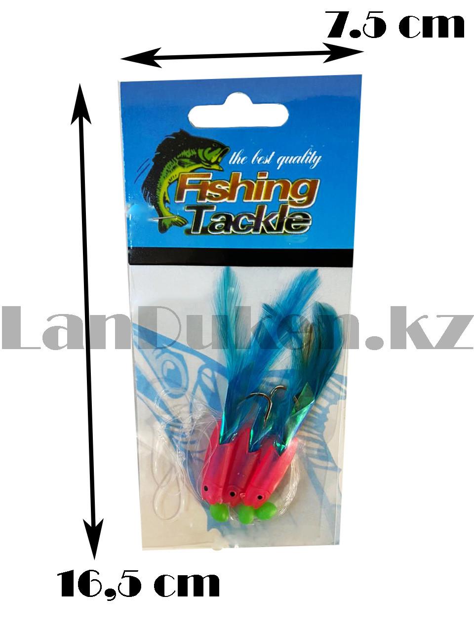 Блесна для рыбной ловли Fishing Tackle розового цвета с 3-мя крючками - фото 2