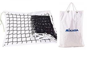 Сетка волейбольная Mikasa (нить 4мм, р-р 9,5×1м, ячейка 9 × 9 см, с метал. тросом)