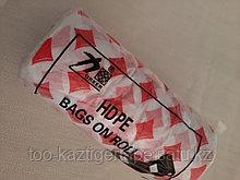 Пакеты в рулоне с ручкой, красно-белый