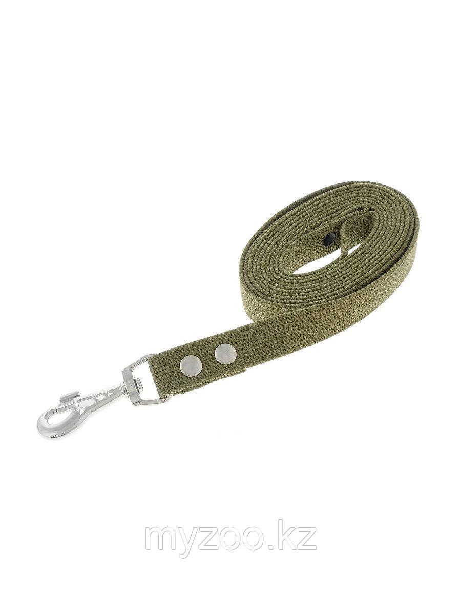 Поводок брезентовый для собак, хаки/зеленый 25мм*3м