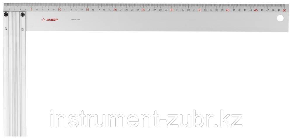 """Угольник ЗУБР """"ЭКСПЕРТ"""" столярный, жесткое профилированное полотно, усиленная алюминиевая рукоятка, 500мм"""