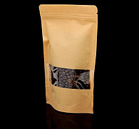 Пакет Zip-lock Крафт с прямоугольным окном 12 х 20 см, фото 1