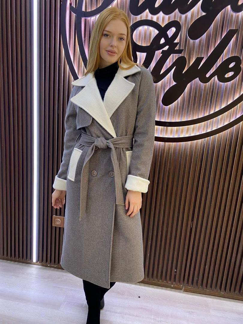 Пальто коричневое - фото 1