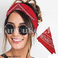 Бандана платок хлопковая с узором восточный огурец квадратная 53х53 см красная