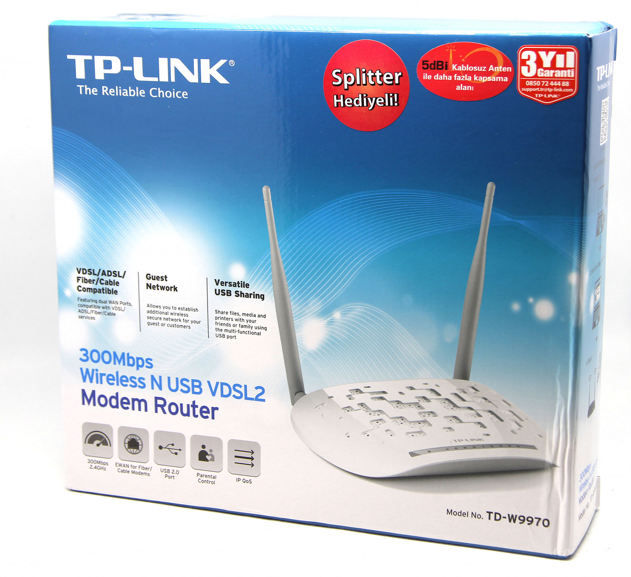 Модем беспроводной VDSL2/ADSL2+ 300M GbE Tp-Link TD-W9970