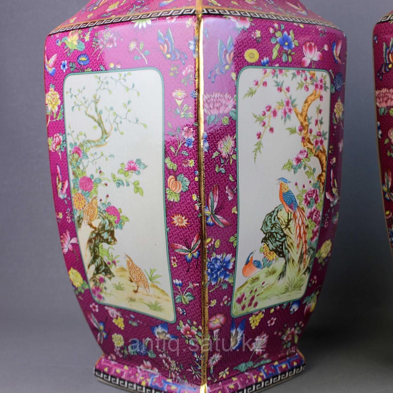Бордовые вазы с бабочками. - фото 4