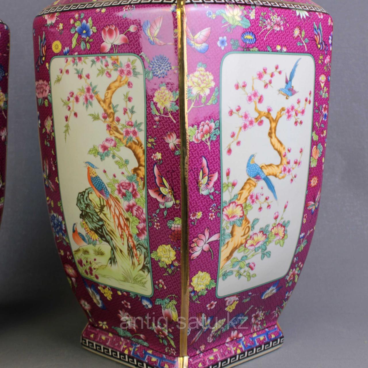Бордовые вазы с бабочками. - фото 5