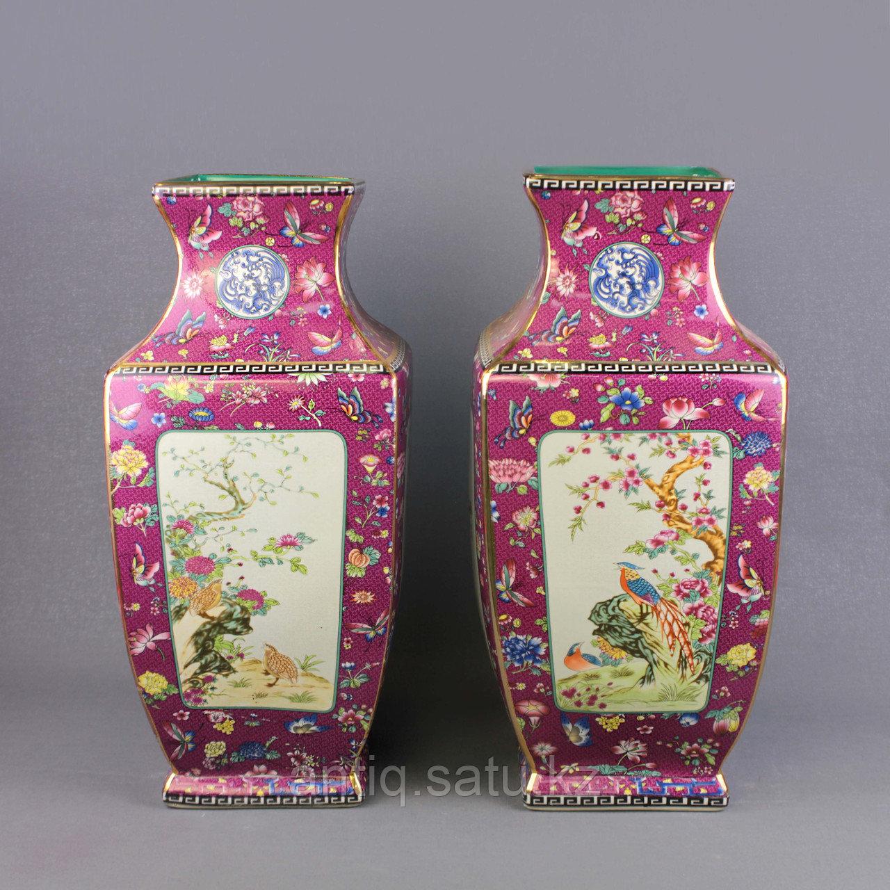 Бордовые вазы с бабочками. - фото 2