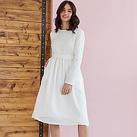 Платье женское льняное с хлопковым кружевом молочного цвета