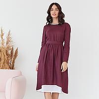 Платье женское льняное с хлопковым кружевом ягодного цвета