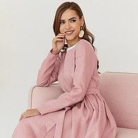 Платье женское льняное с хлопковым кружевом пыльно-розового цвета
