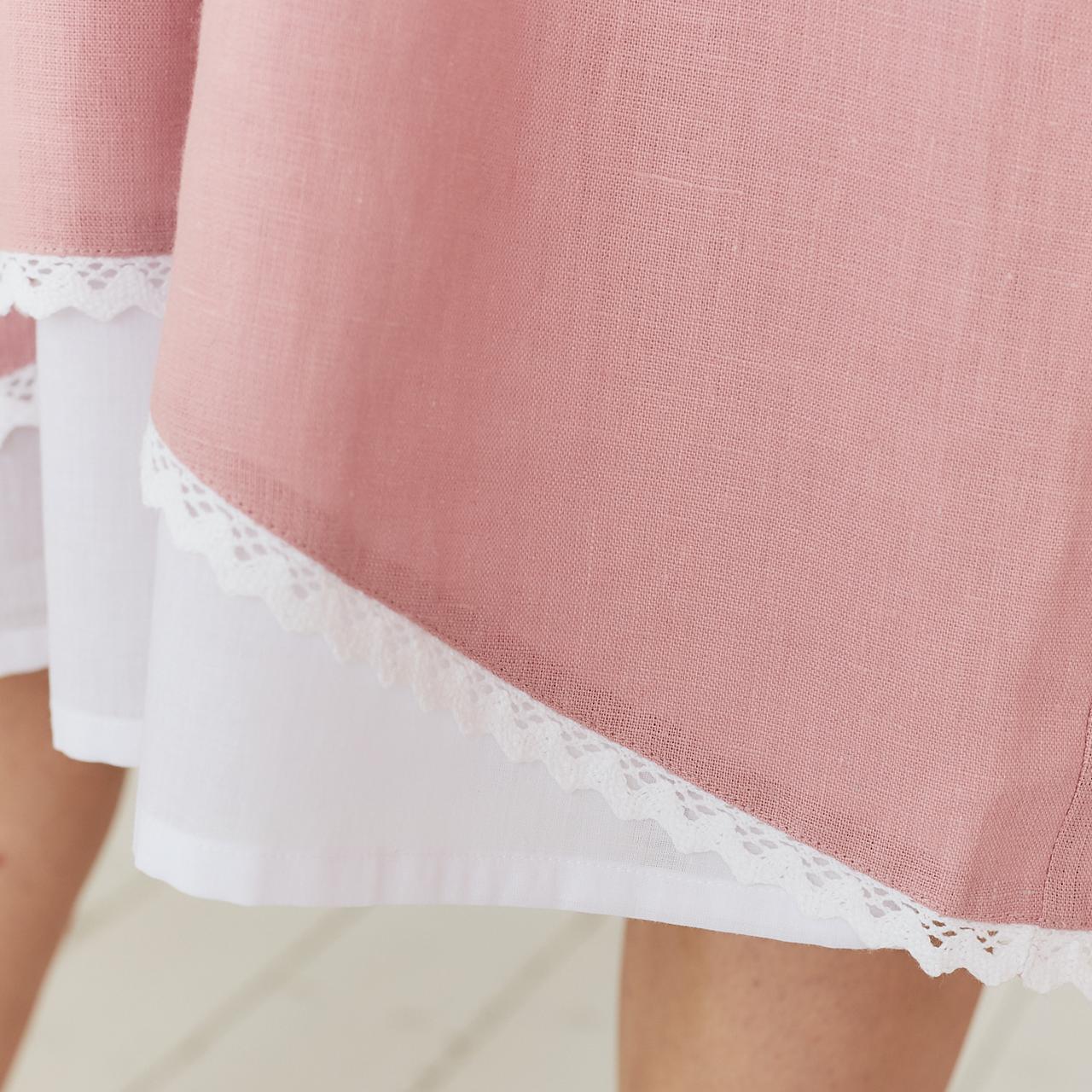 Платье женское льняное с хлопковым кружевом пыльно-розового цвета - фото 4