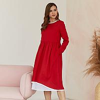 Платье женское льняное с хлопковым кружевом красного цвета