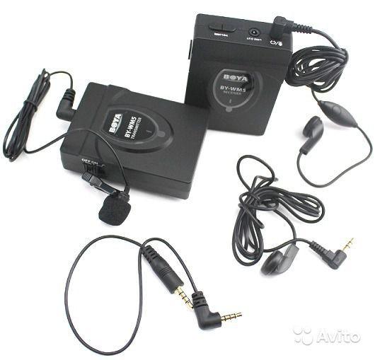 Беспроводной поясной микрофон BOYA BY-WM5 с петличным микрофоном