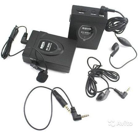 Беспроводной поясной микрофон BOYA BY-WM5 с петличным микрофоном, фото 2