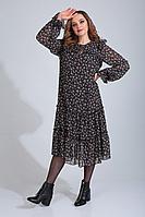Женское осеннее шифоновое черное большого размера платье MALI 420-131 красные_цветочки 48р.