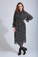 Женское осеннее шифоновое черное большого размера платье MALI 420-132 веточка 48р.