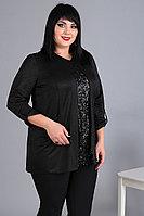 Женская осенняя трикотажная черная нарядная большого размера блуза Algranda by Новелла Шарм А3623 60р.
