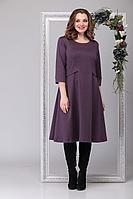 Женское осеннее трикотажное фиолетовое большого размера платье Michel chic 2025 сирень 52р.