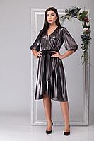 Женское осеннее черное нарядное большого размера платье Michel chic 2029 черный+золото 46р.