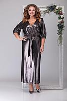 Женское осеннее черное нарядное большого размера платье Michel chic 2030 чёрный+золото 52р.