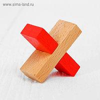 Игрушка из дерева для детей. Головоломка «Крест», цветная
