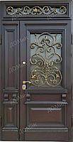Дверь стальная на заказ со стеклом и ковкой