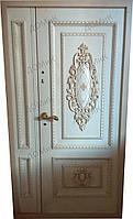 Двери входные с орнаментом белая