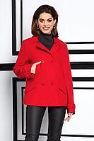 Женское осеннее драповое красное пальто Lissana 3931 алый 46р.