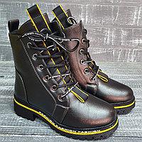 Ботинки ( дев. графит) с желтыми элентами