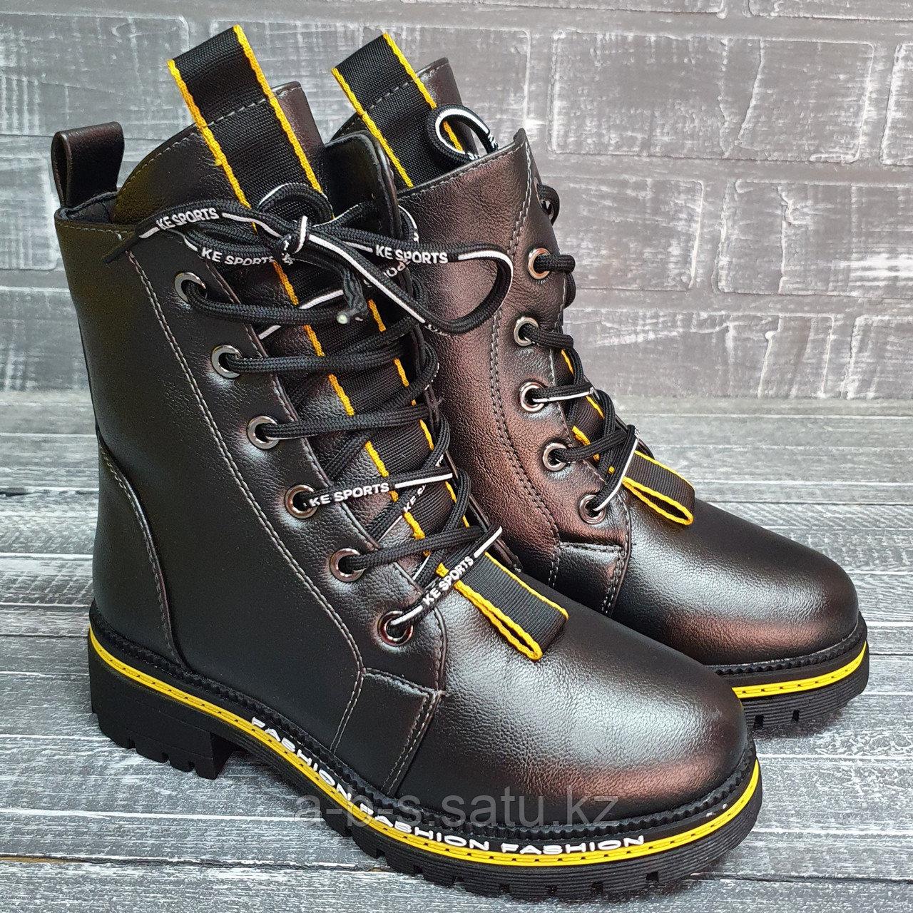 Зимние ботинки ( дев. графит) с желтыми элентами