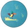 Ковер безворсовый, ДЬЮНГЕЛЬСКОГ,птица/синий100 см. ИКЕА, IKEA