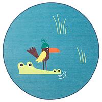 Ковер безворсовый, ДЬЮНГЕЛЬСКОГ,птица/синий100 см. ИКЕА, IKEA, фото 1