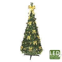 Star Trading AB: Елка новогодняя с золотистыми украшениями и огнями 185 см (диаметр 85 см)