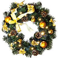 Star Trading AB: Венок еловый зеленый с золотыми украшениями и огнями на батарейках (диаметр 40 см)