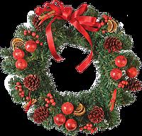 Star Trading AB: Венок еловый зеленый с красными украшениями и огнями на батарейках (диаметр 40 см)