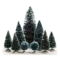 Набор елок Kaemingk: 2шт - 4см, 4шт - 10 см, 2 шт - 14 см, 1 шт - 22 см, зеленые