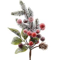 Kaemingk: Веточка еловая заснеженная с красными ягодами и шишками (длина 20 см)