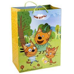 """Подарочный пакет Бумажный """"Три кота"""", 33x46х20 см."""