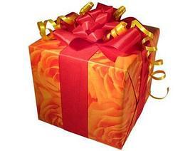 Празднчная упаковка подарка с лентой и бантом (цена за 1 лист бумаги)