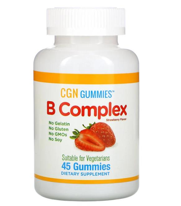 California Gold Nutrition, Жевательные таблетки с комплексом витаминов группы B, без желатина и глютена, натур