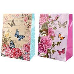 """Подарочный пакет Бумажный """"Цветы и бабочки"""", 33x46х20 см."""