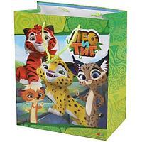 """Подарочный пакет Бумажный """"Лео и Тиг"""", 33x46х20 см."""