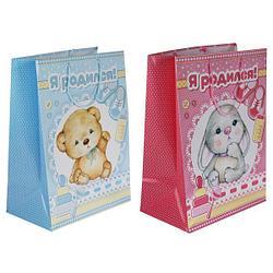 """Подарочный пакет для новорождённых """"Я родился"""", 33х46х20 см."""