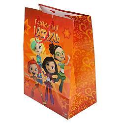 """Подарочный пакет Бумажный """"Сказочный патруль"""", 26 x32 x14 см. оранжевый"""