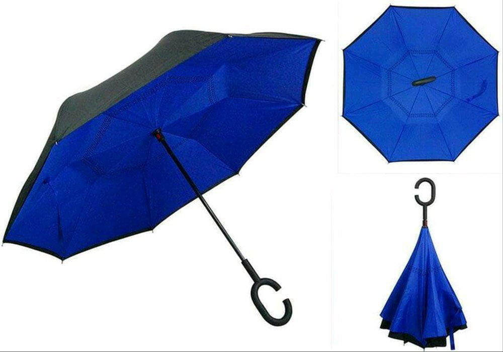 Умный зонт Наоборот, цвет синий + черный. Черная пятница!
