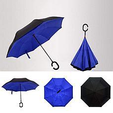 Умный зонт Наоборот, цвет синий + черный. Черная пятница!, фото 2