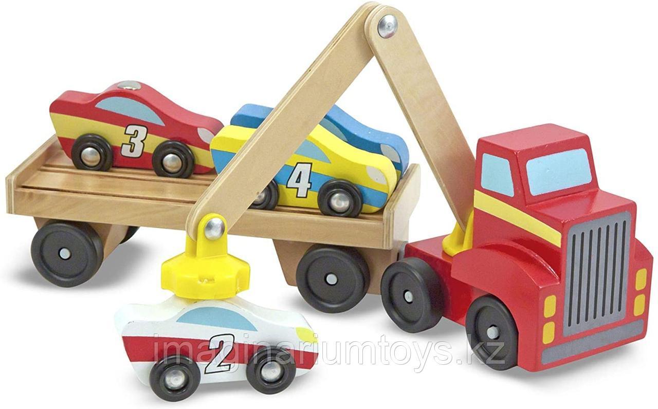 Развивающая игрушка из дерева «Автовоз погрузчик с машинками»